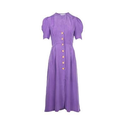 balloon sleeve long dress purple